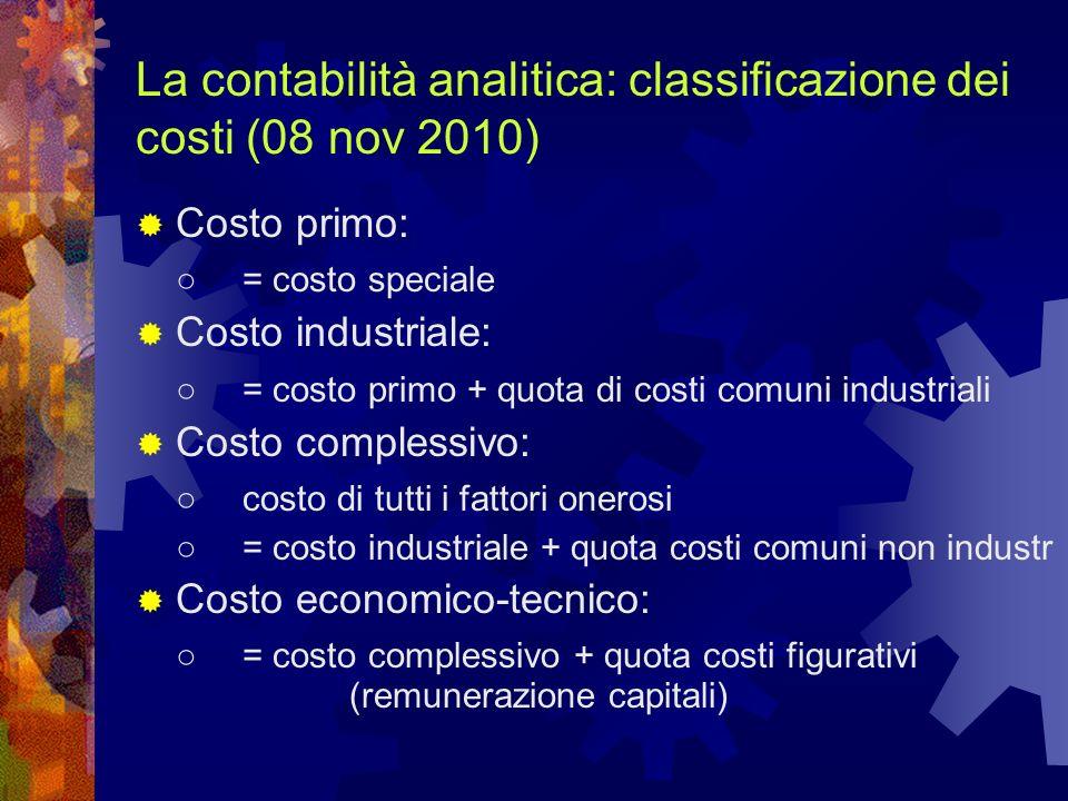 La contabilità analitica: classificazione dei costi (08 nov 2010)