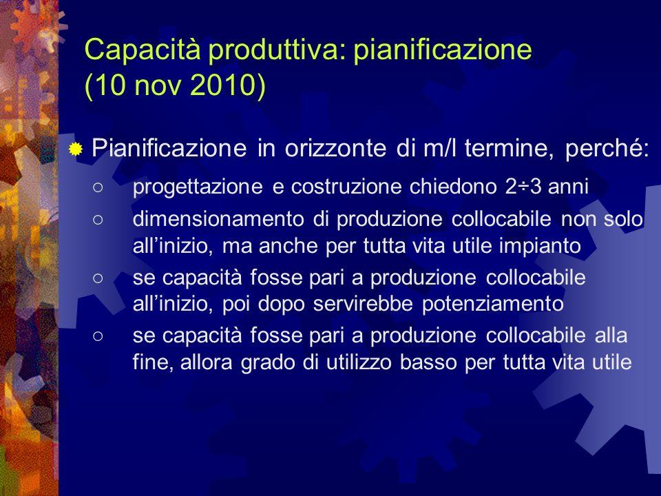 Capacità produttiva: pianificazione (10 nov 2010)