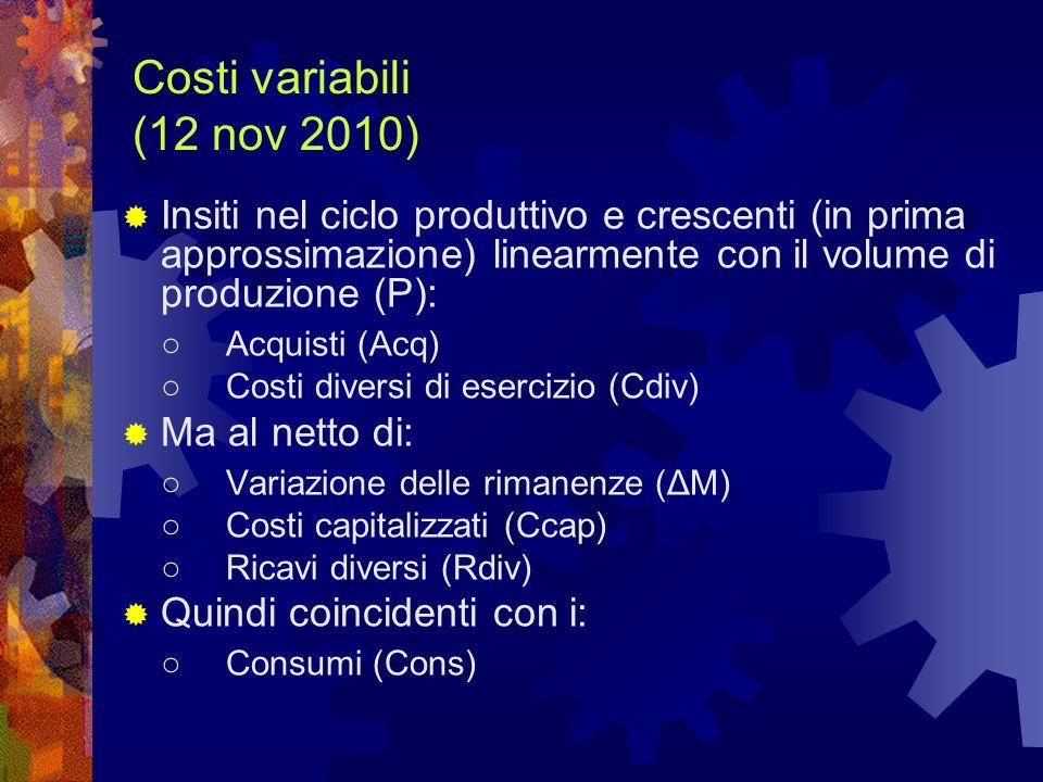 Costi variabili (12 nov 2010) Insiti nel ciclo produttivo e crescenti (in prima approssimazione) linearmente con il volume di produzione (P):