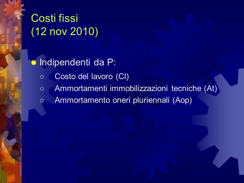 Costi fissi (12 nov 2010) Indipendenti da P: ○ Costo del lavoro (Cl)