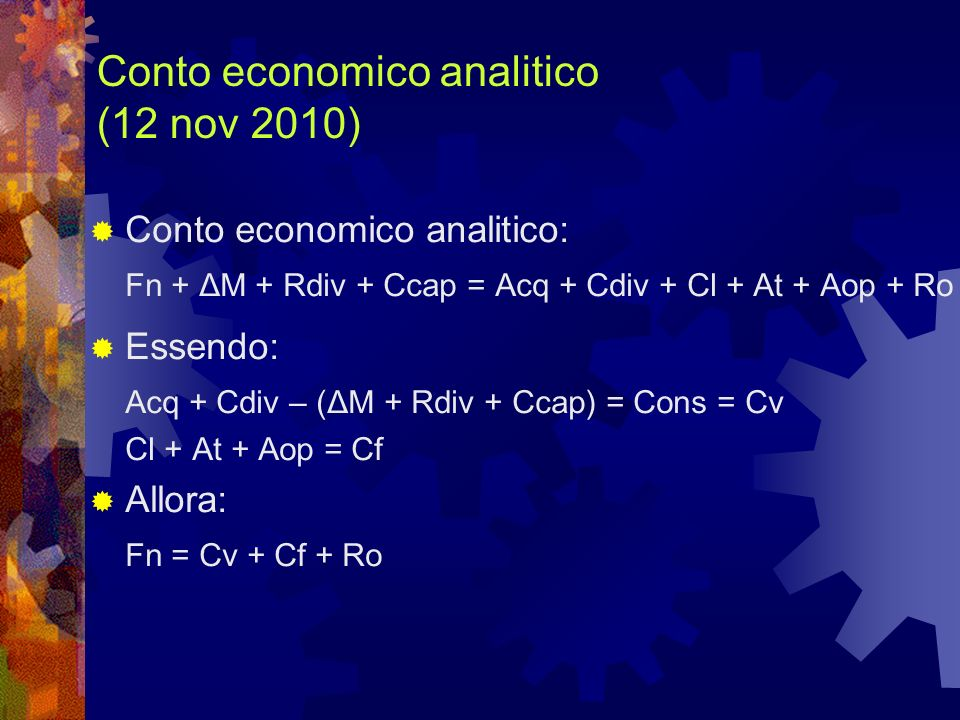 Conto economico analitico (12 nov 2010)