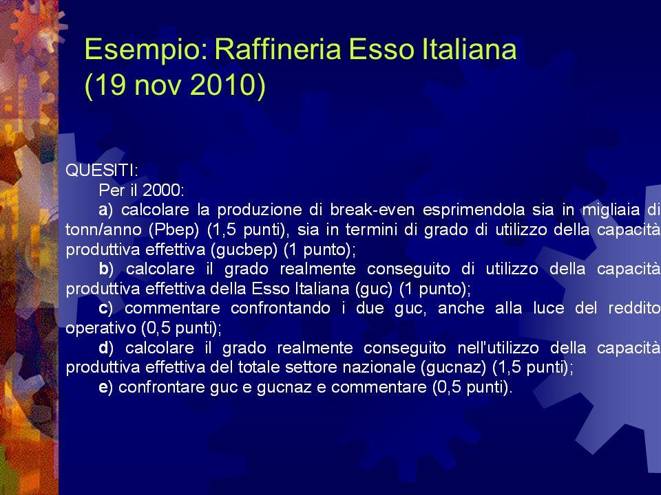 Esempio: Raffineria Esso Italiana (19 nov 2010)