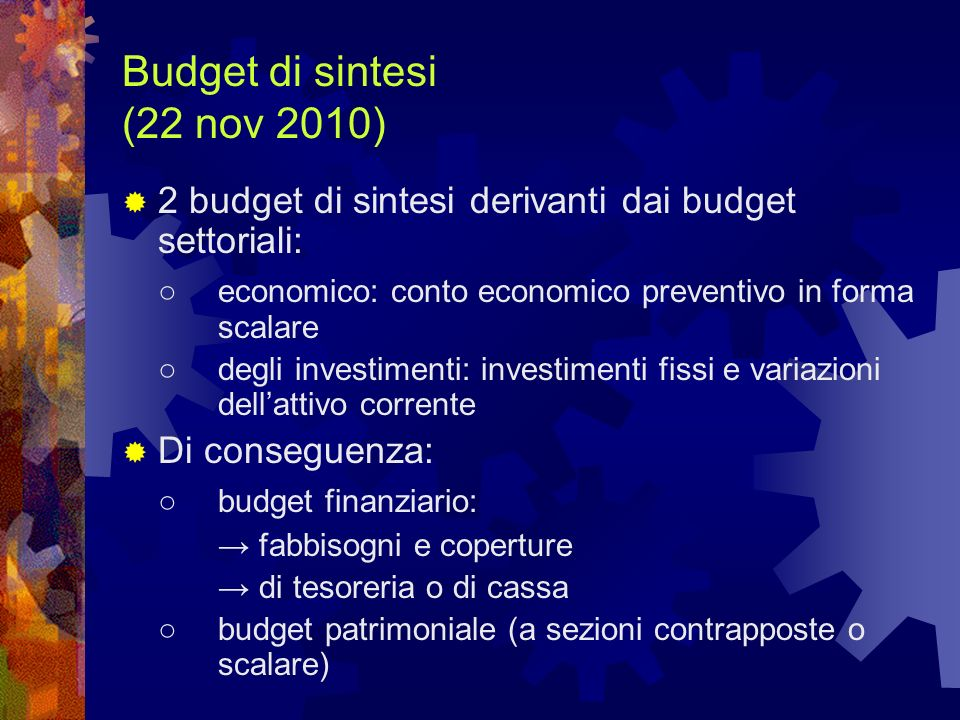Budget di sintesi (22 nov 2010)