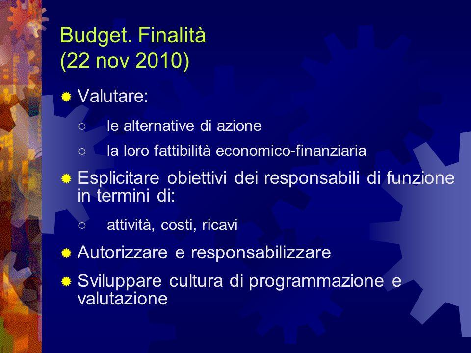 Budget. Finalità (22 nov 2010) Valutare: ○ le alternative di azione