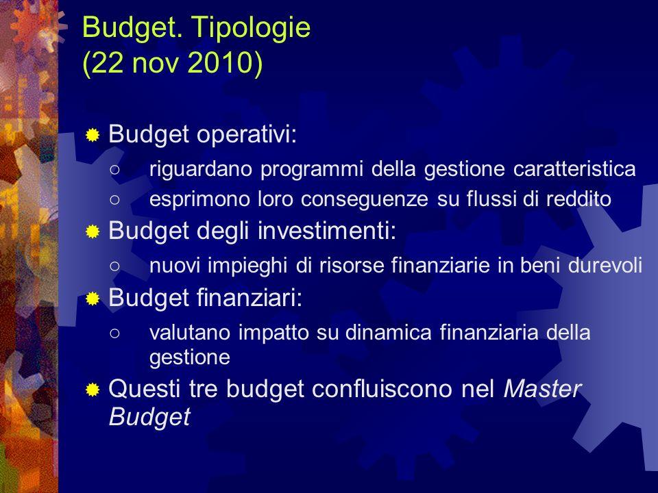 Budget. Tipologie (22 nov 2010)