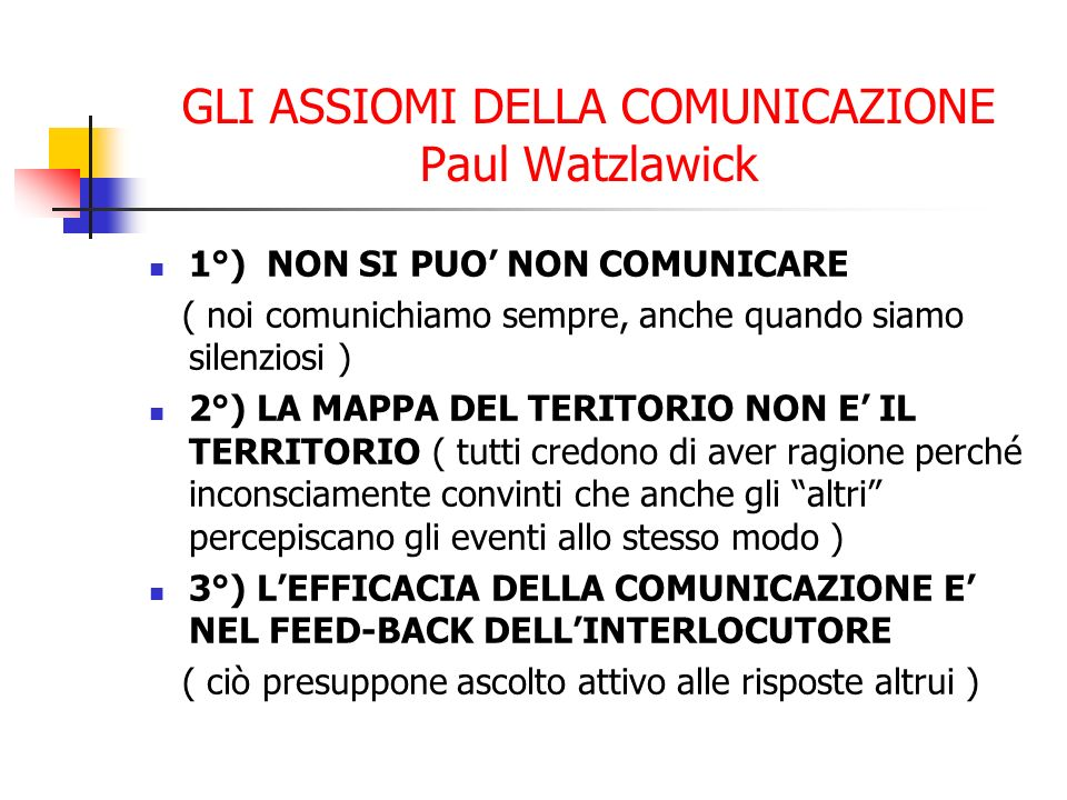 GLI ASSIOMI DELLA COMUNICAZIONE Paul Watzlawick