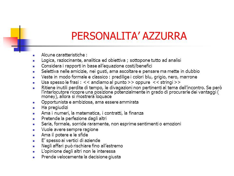 PERSONALITA' AZZURRA Alcune caratteristiche :