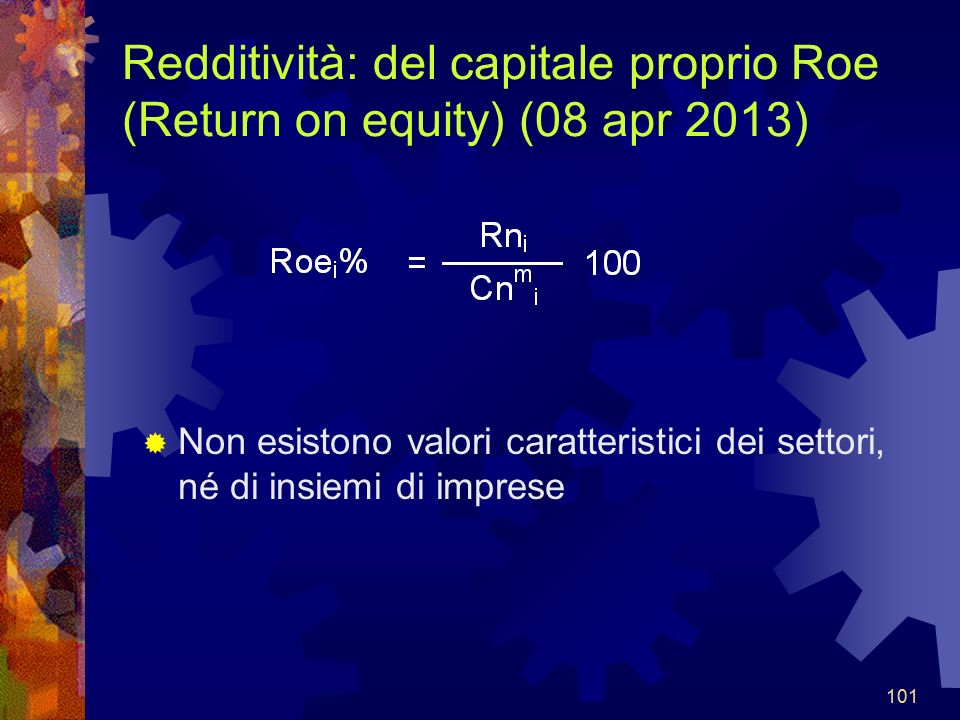 Redditività: del capitale proprio Roe (Return on equity) (08 apr 2013)