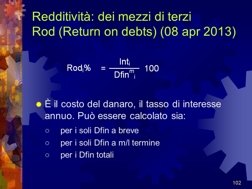 Redditività: dei mezzi di terzi Rod (Return on debts) (08 apr 2013)