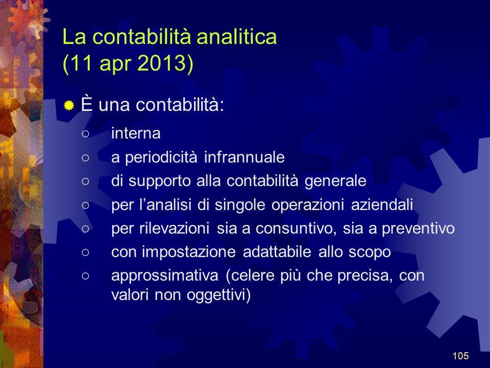 La contabilità analitica (11 apr 2013)