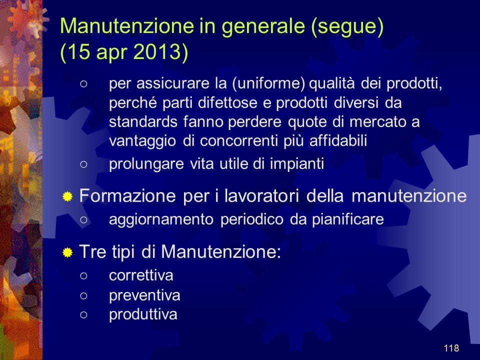 Manutenzione in generale (segue) (15 apr 2013)