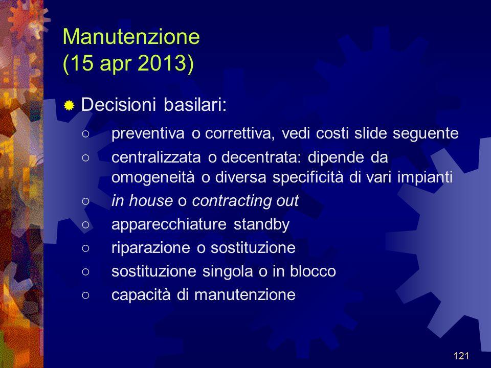 Manutenzione (15 apr 2013) Decisioni basilari: