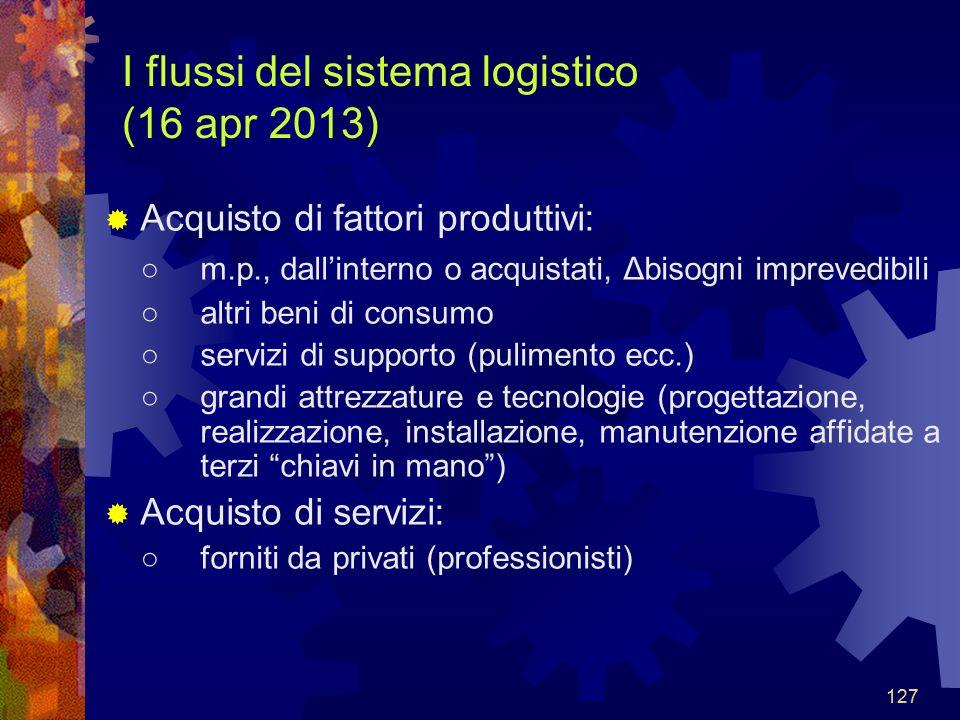 I flussi del sistema logistico (16 apr 2013)