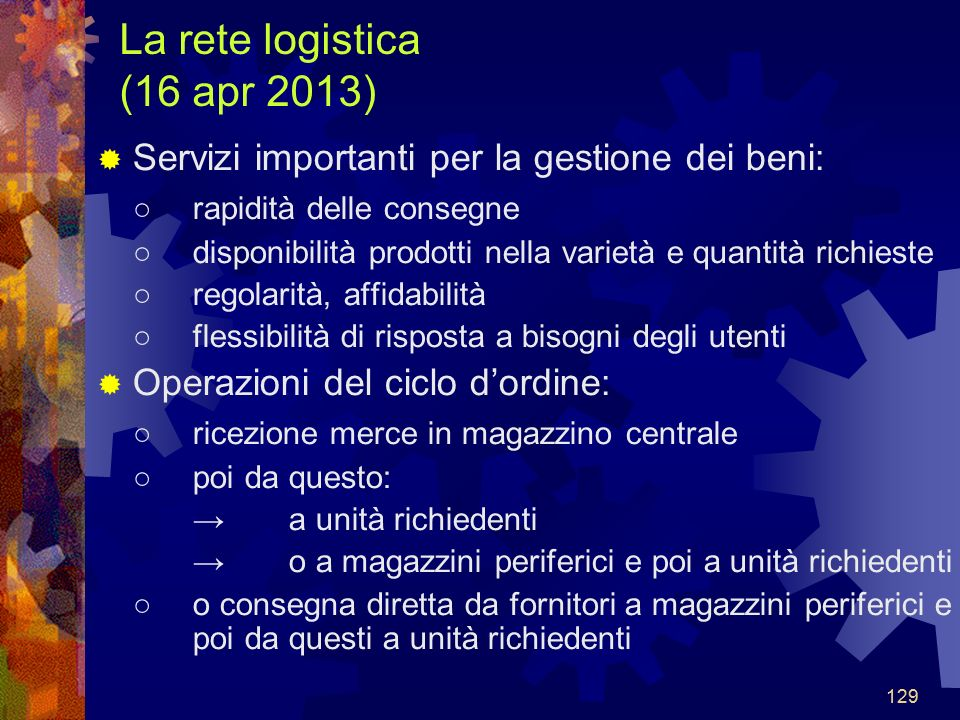 La rete logistica (16 apr 2013)