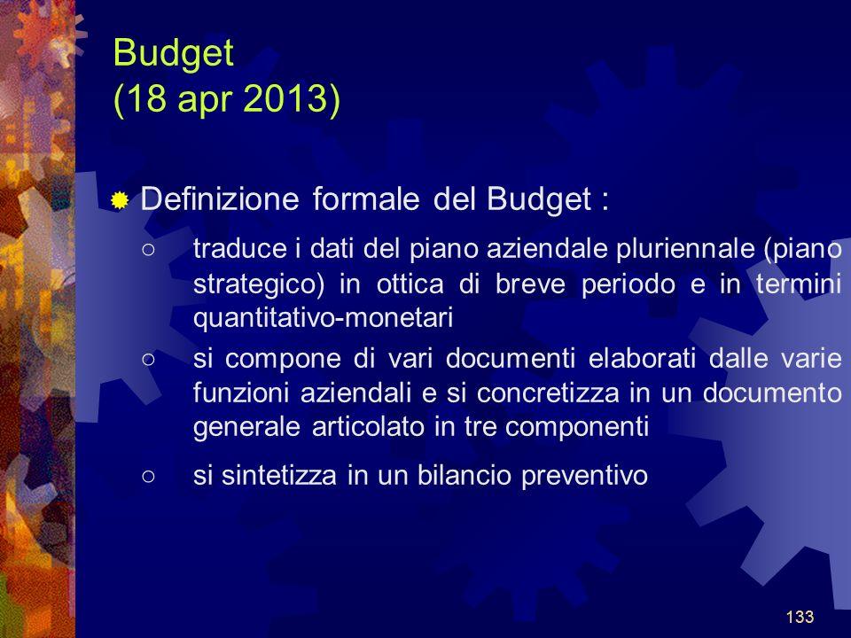 Budget (18 apr 2013) Definizione formale del Budget :