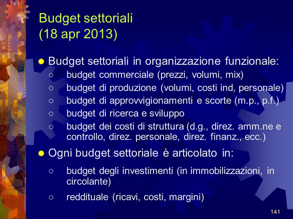 Budget settoriali (18 apr 2013)