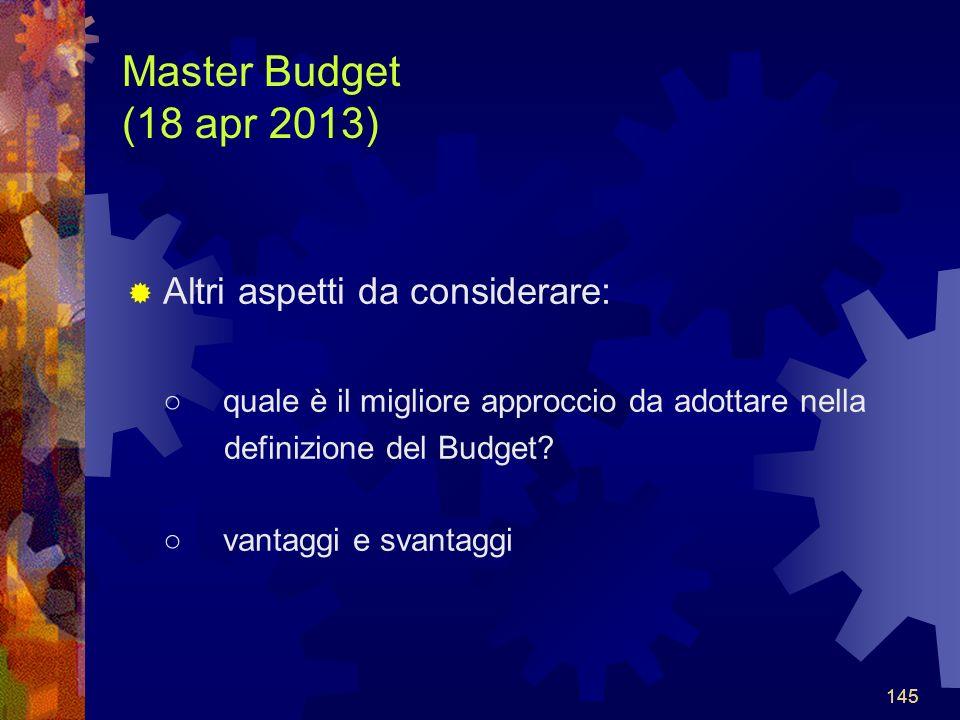 Master Budget (18 apr 2013) Altri aspetti da considerare: