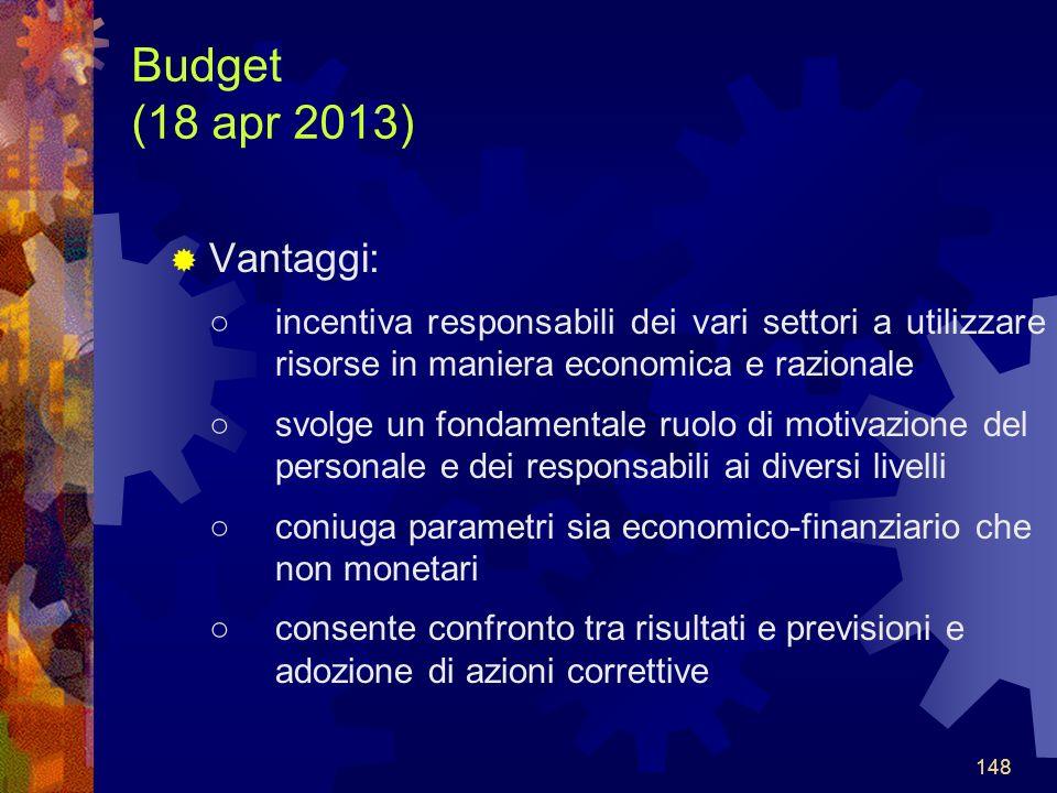 Budget (18 apr 2013) Vantaggi: