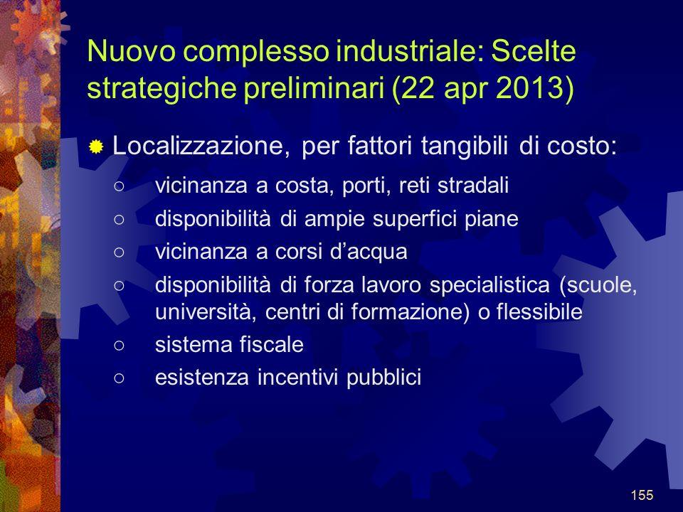 Nuovo complesso industriale: Scelte strategiche preliminari (22 apr 2013)