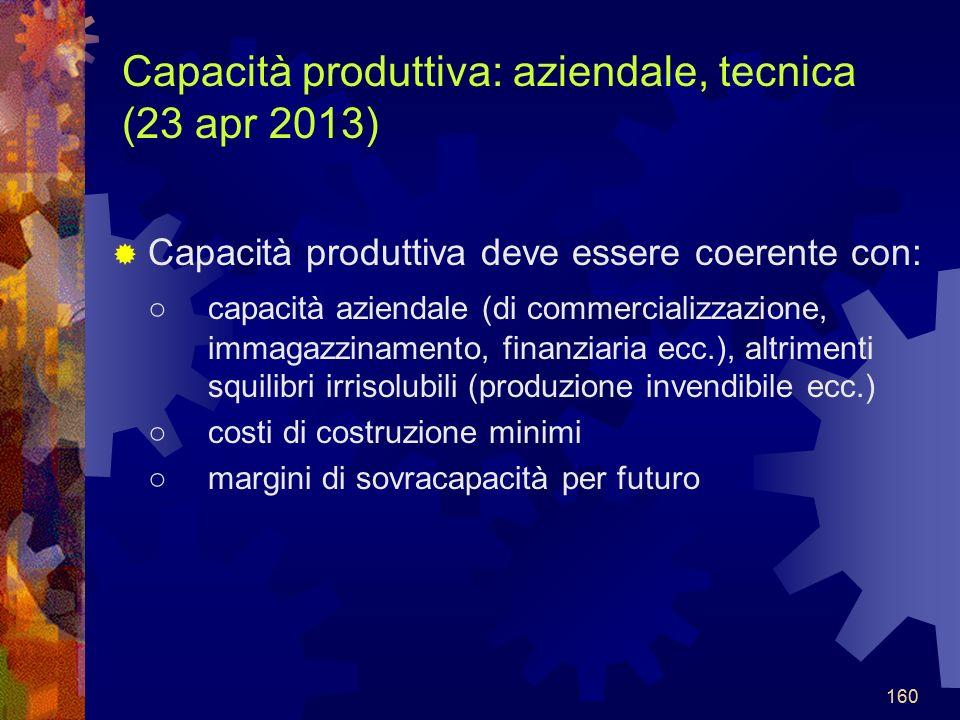Capacità produttiva: aziendale, tecnica (23 apr 2013)
