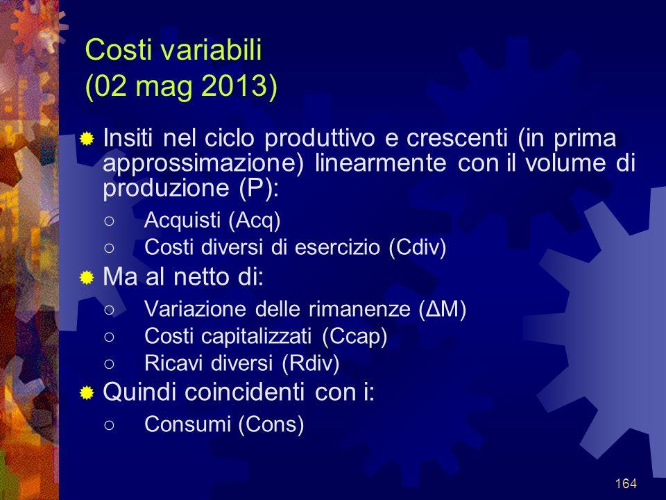 Costi variabili (02 mag 2013) Insiti nel ciclo produttivo e crescenti (in prima approssimazione) linearmente con il volume di produzione (P):