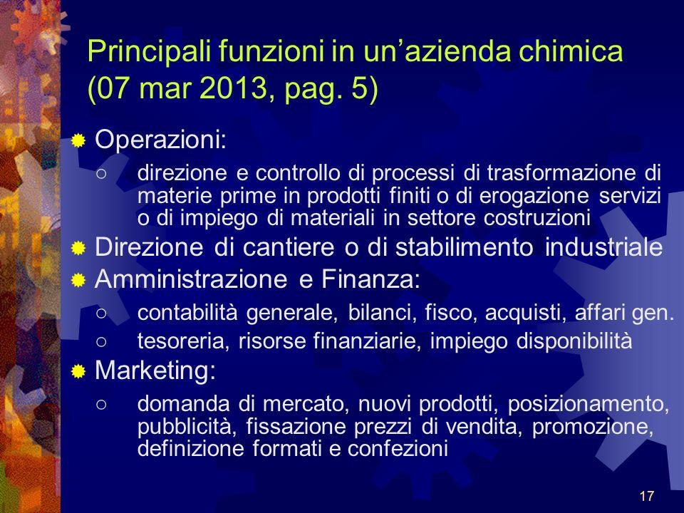Principali funzioni in un'azienda chimica (07 mar 2013, pag. 5)