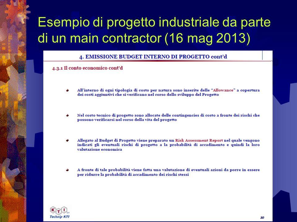 Esempio di progetto industriale da parte di un main contractor (16 mag 2013)