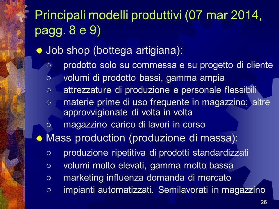 Principali modelli produttivi (07 mar 2014, pagg. 8 e 9)