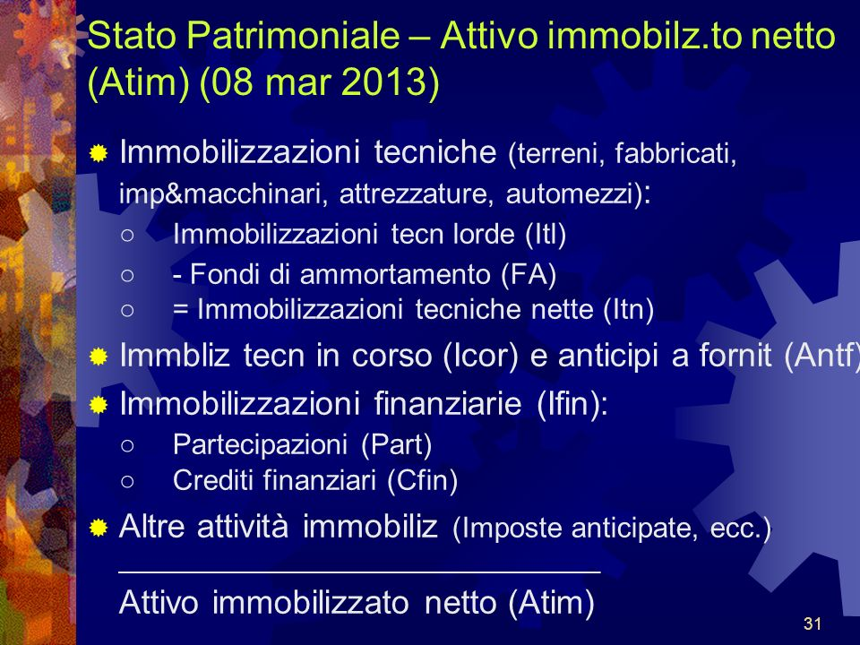 Stato Patrimoniale – Attivo immobilz.to netto (Atim) (08 mar 2013)