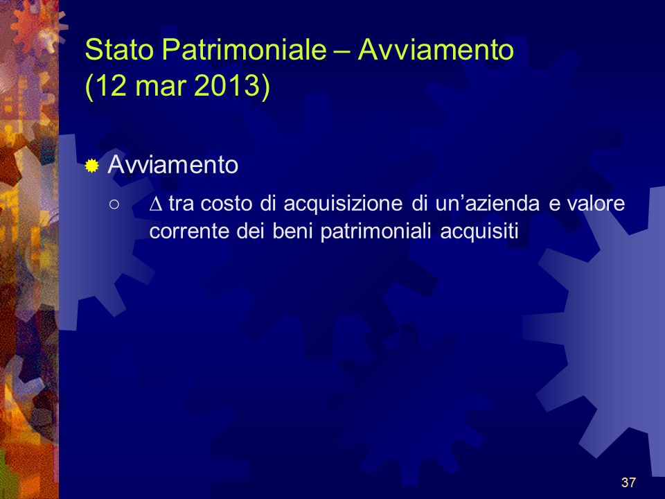 Stato Patrimoniale – Avviamento (12 mar 2013)