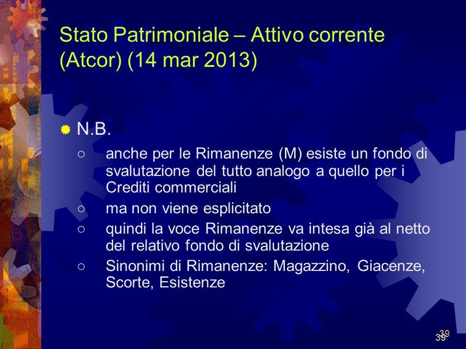 Stato Patrimoniale – Attivo corrente (Atcor) (14 mar 2013)