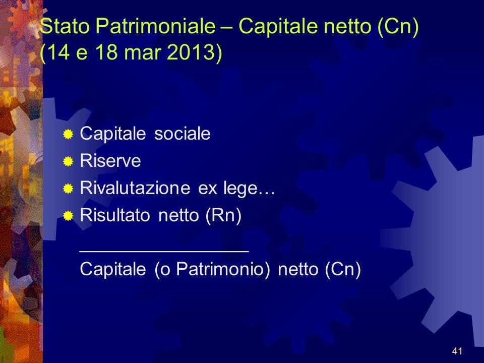 Stato Patrimoniale – Capitale netto (Cn) (14 e 18 mar 2013)
