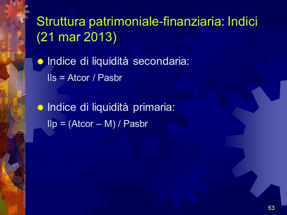 Struttura patrimoniale-finanziaria: Indici (21 mar 2013)