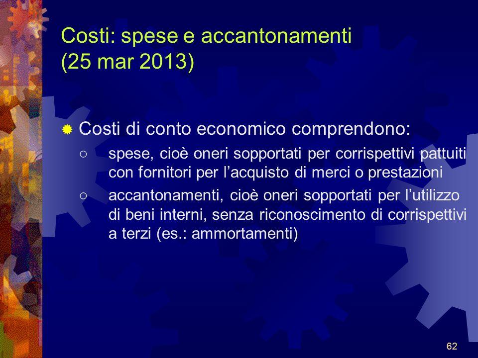 Costi: spese e accantonamenti (25 mar 2013)