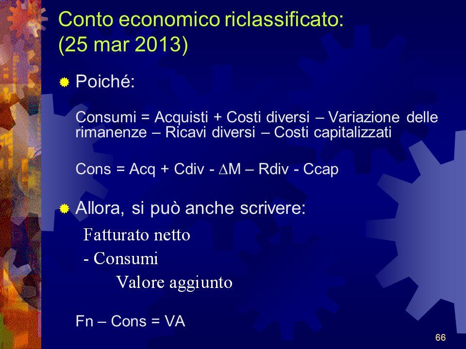 Conto economico riclassificato: (25 mar 2013)