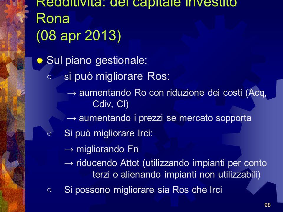 Redditività: del capitale investito Rona (08 apr 2013)