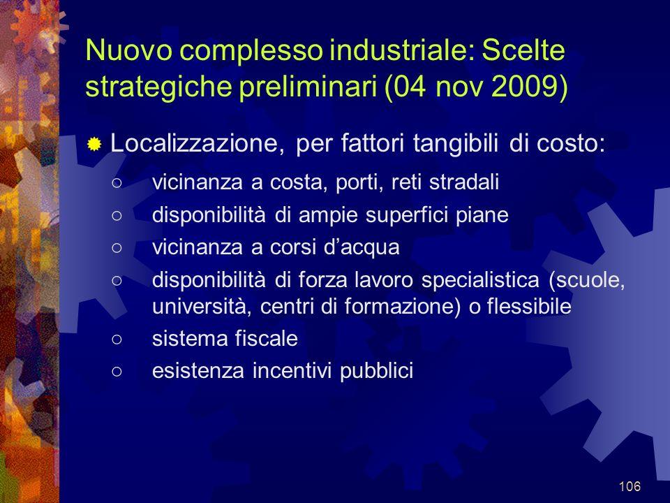 Nuovo complesso industriale: Scelte strategiche preliminari (04 nov 2009)
