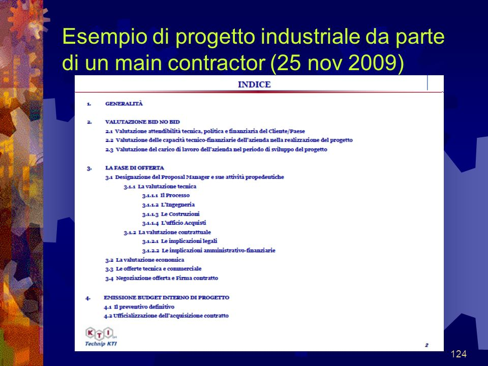 Esempio di progetto industriale da parte di un main contractor (25 nov 2009)