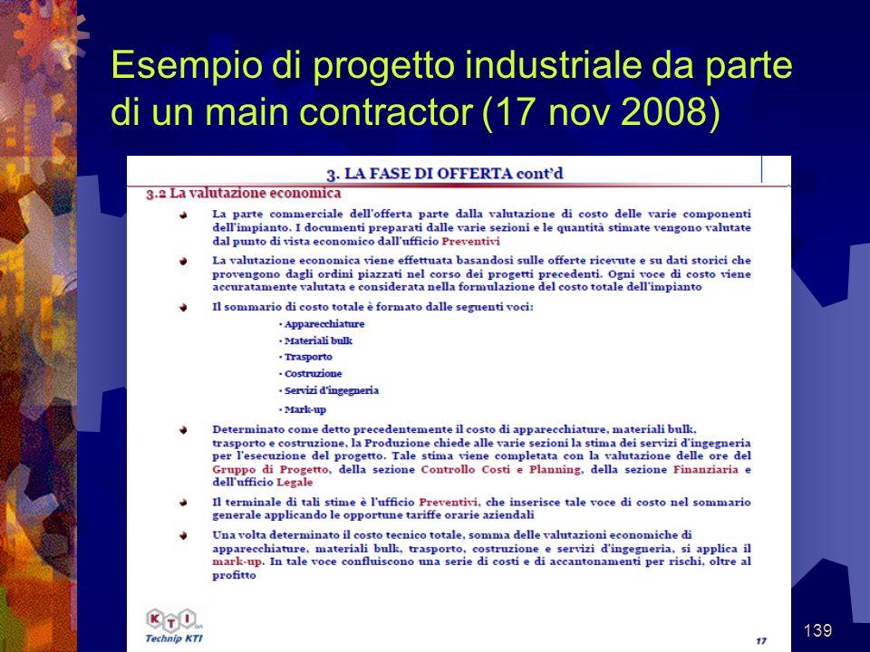 Esempio di progetto industriale da parte di un main contractor (17 nov 2008)