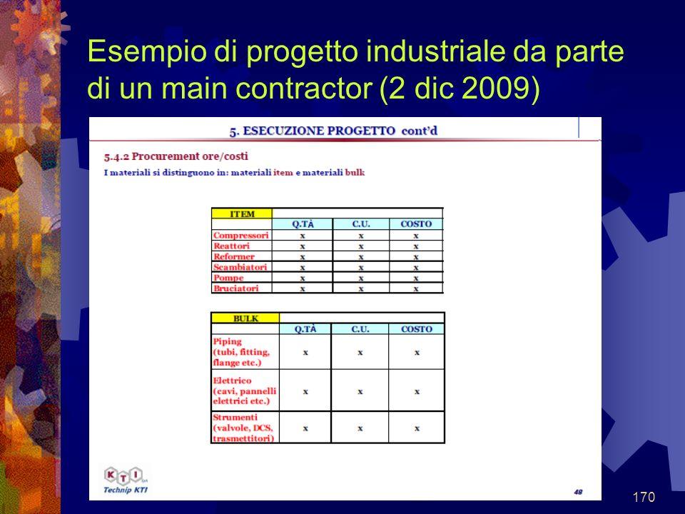 Esempio di progetto industriale da parte di un main contractor (2 dic 2009)