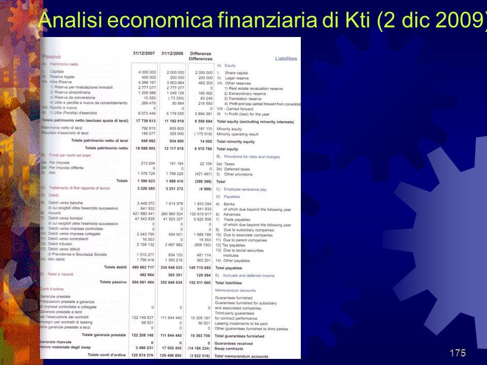 Analisi economica finanziaria di Kti (2 dic 2009)
