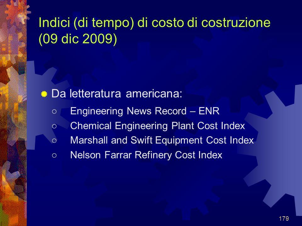 Indici (di tempo) di costo di costruzione (09 dic 2009)