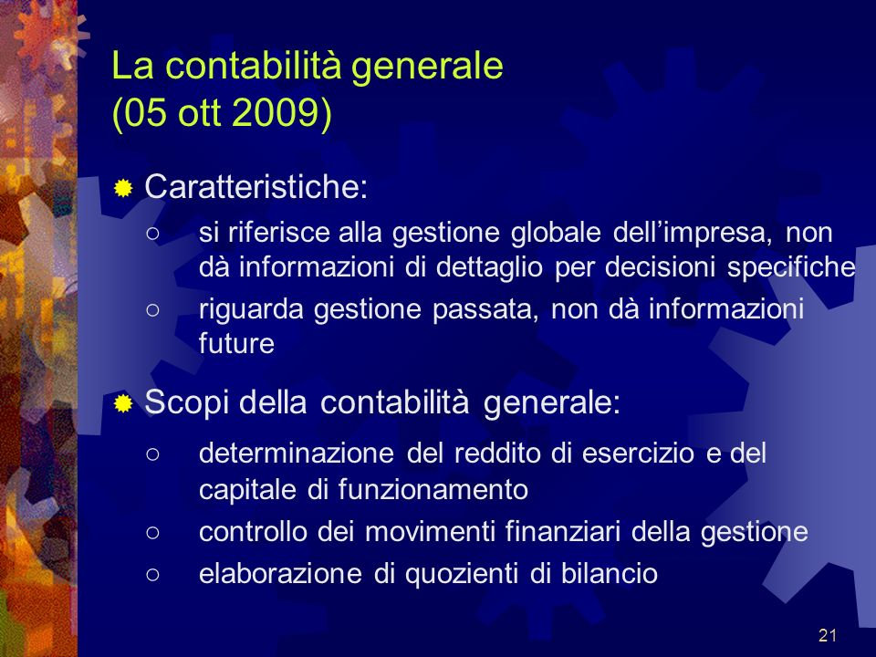 La contabilità generale (05 ott 2009)