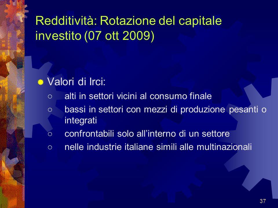Redditività: Rotazione del capitale investito (07 ott 2009)