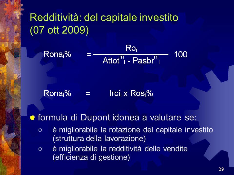 Redditività: del capitale investito (07 ott 2009)