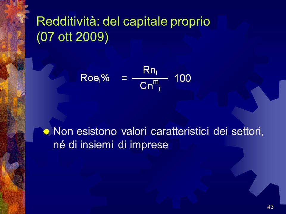 Redditività: del capitale proprio (07 ott 2009)
