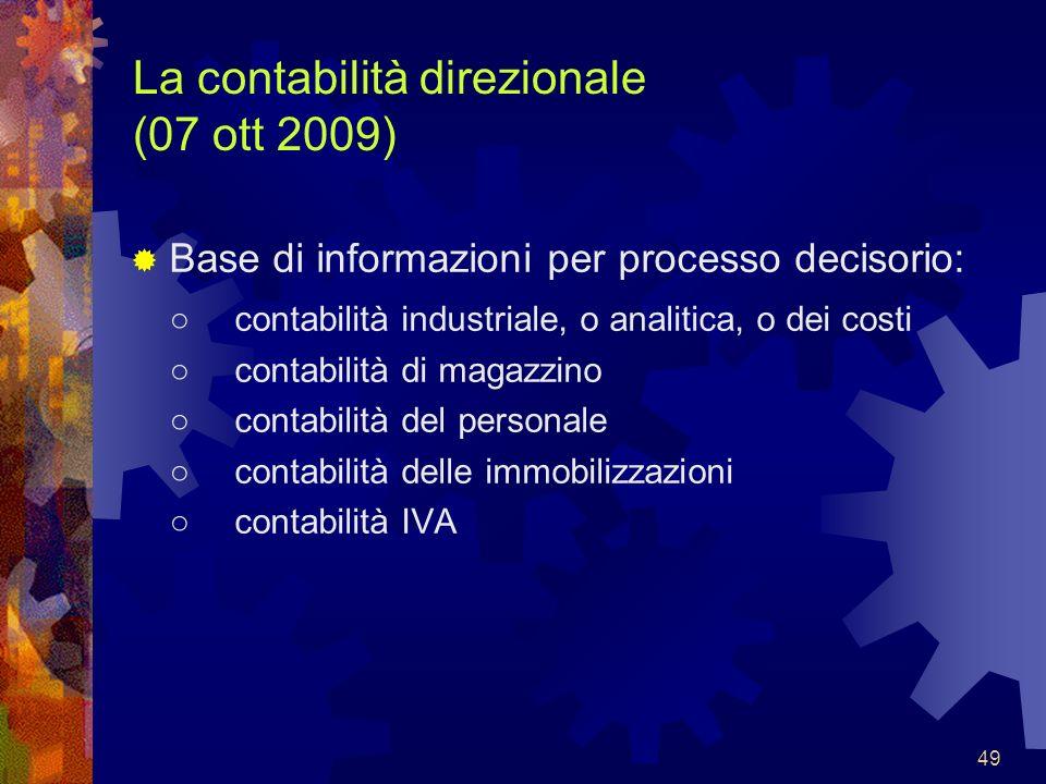La contabilità direzionale (07 ott 2009)