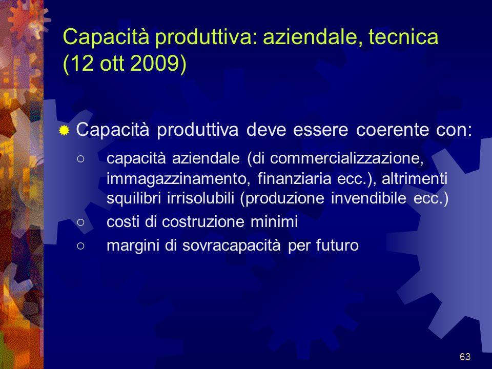 Capacità produttiva: aziendale, tecnica (12 ott 2009)