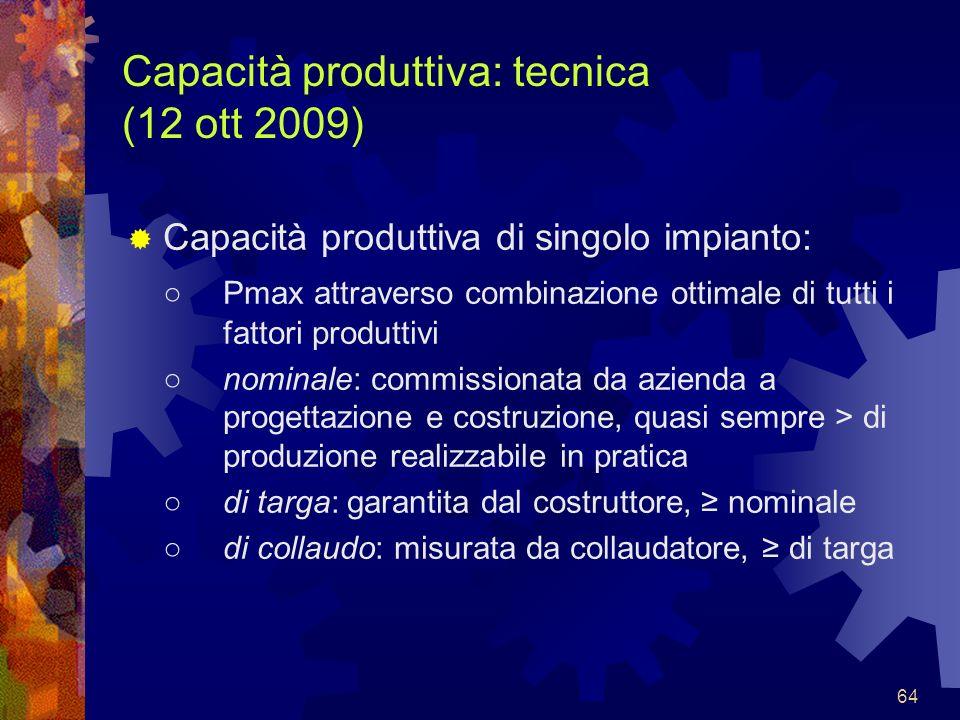 Capacità produttiva: tecnica (12 ott 2009)