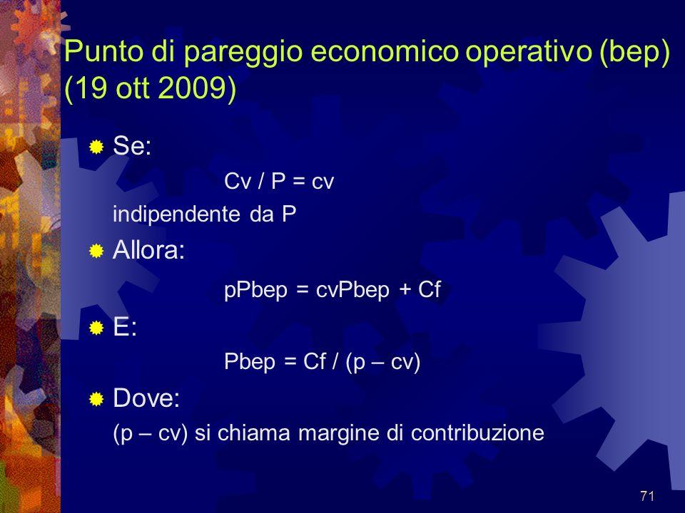 Punto di pareggio economico operativo (bep) (19 ott 2009)